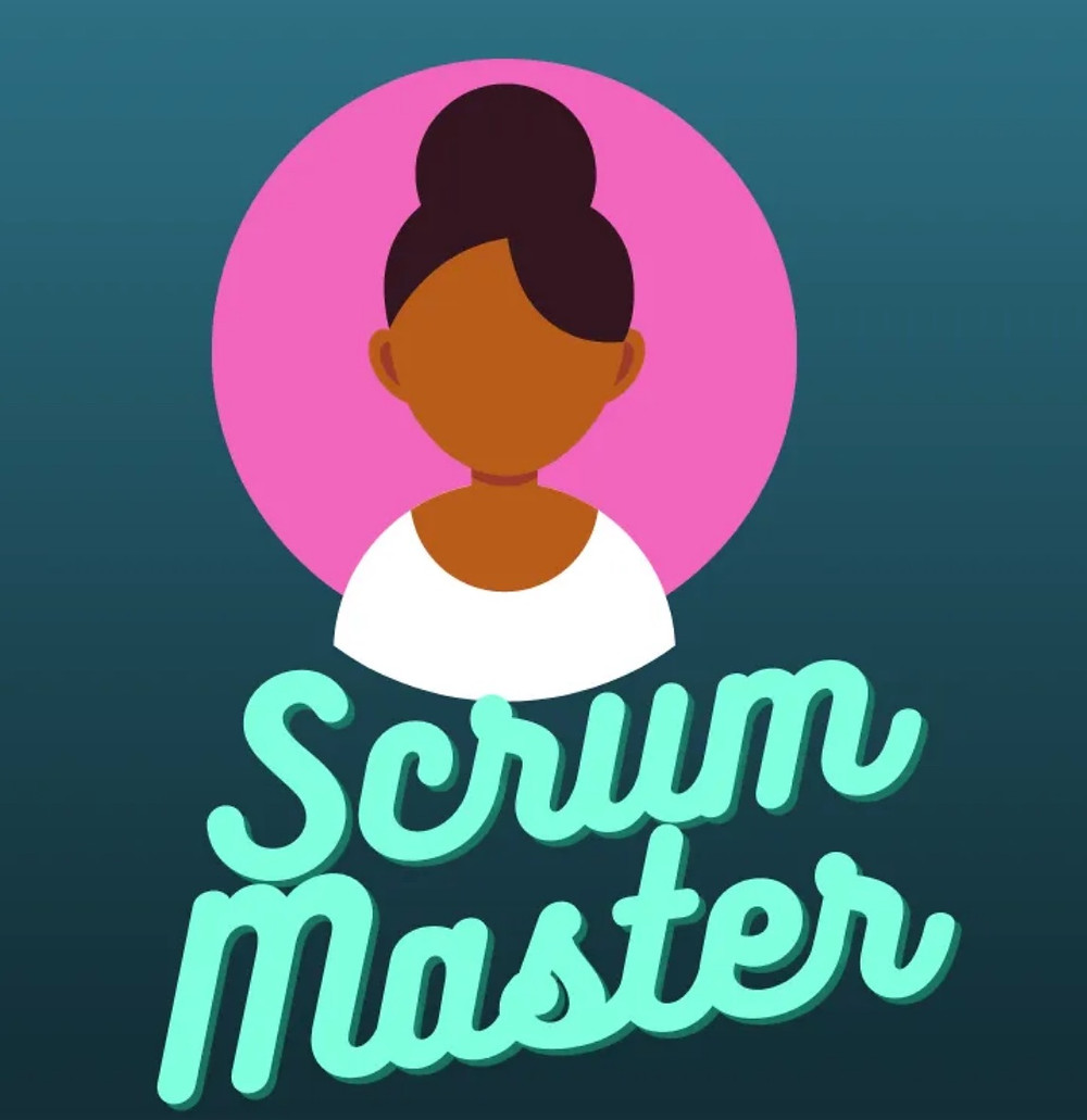 Teal and pink background. Black woman avatar. Scrum Master title