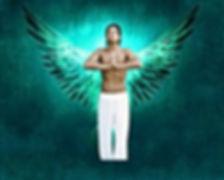 Meditating male angel archetype