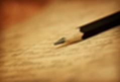 Pencil on a handwritten story