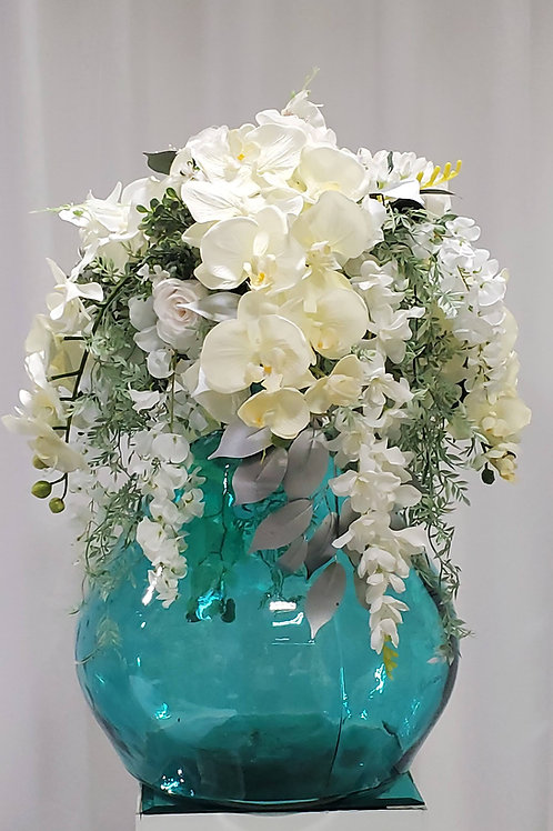 Turquoise glass arrangement
