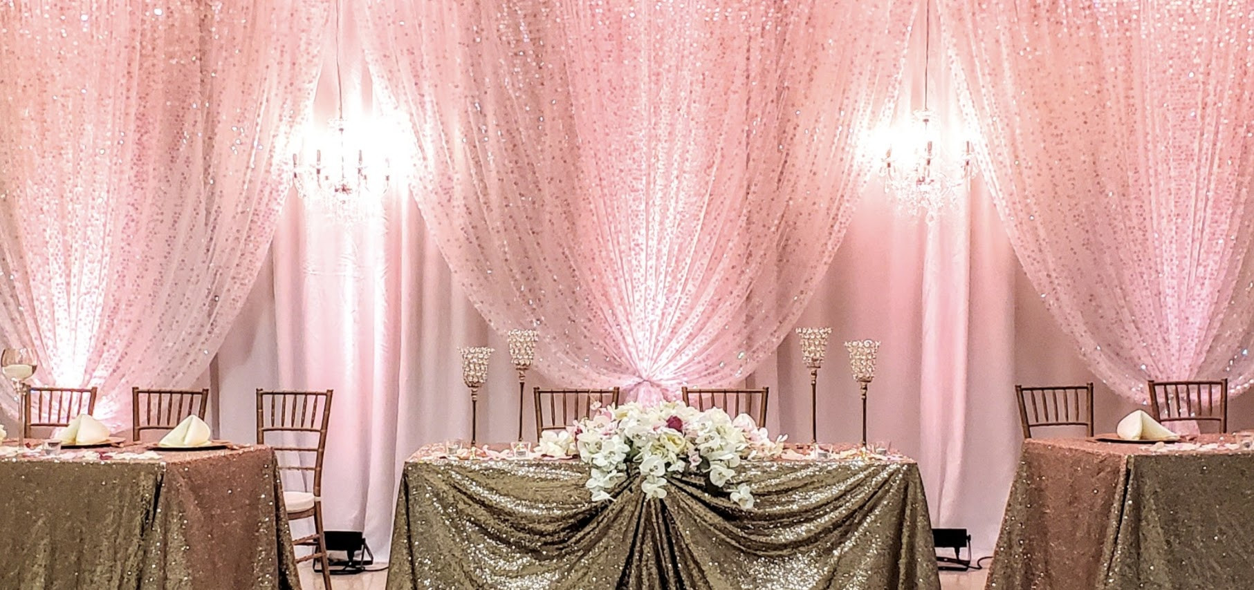 Double draping with sequence and two candelabra