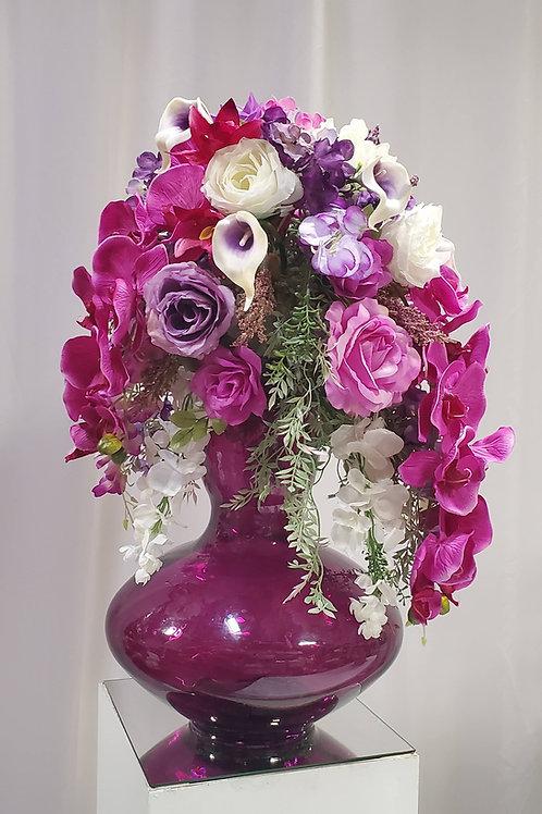 Purple vase silk arrangment