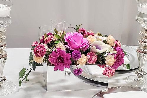 mirror box with silk flower arrangement