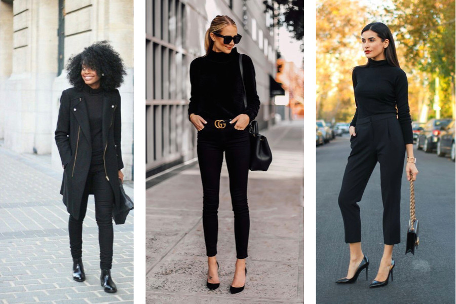mulheres usando cor preta que combinam com o preto