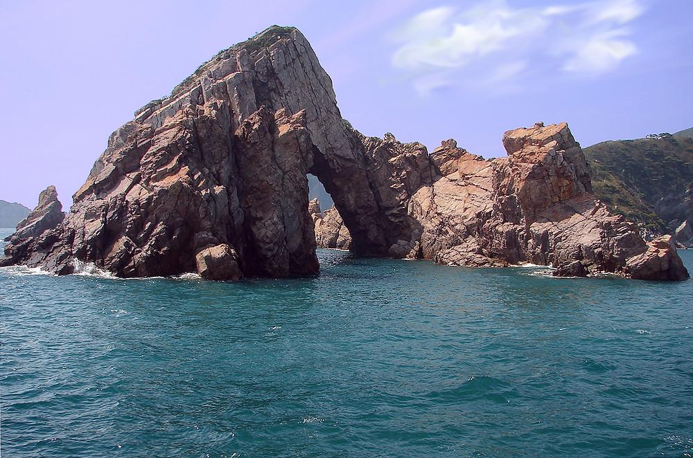 Korea, island rock structure. Ferry ticket in Korea