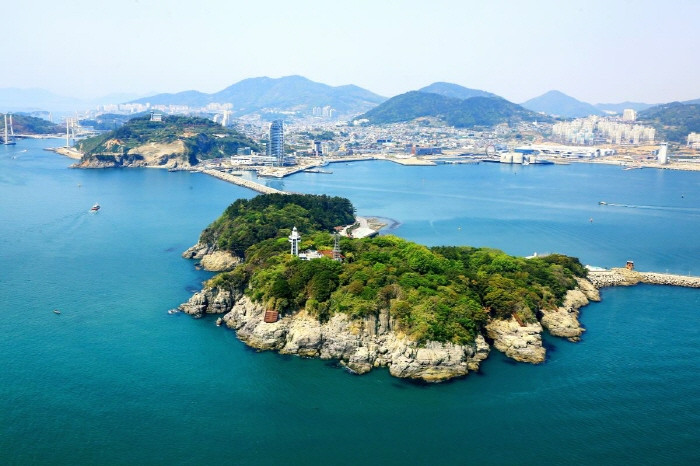 aerial view of odong-do island in spring Korea