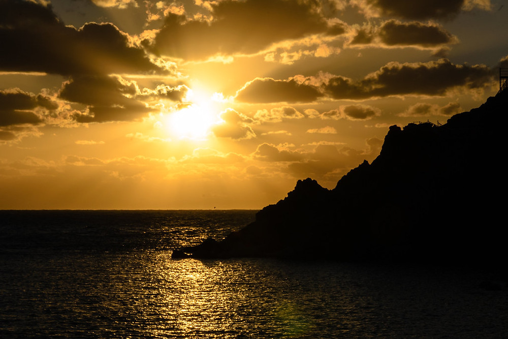beautiful golden ulleungdo sunset