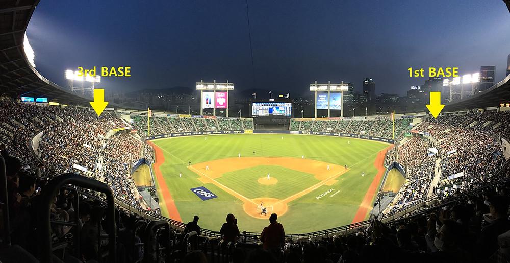 korean baseball game first base and third base locations