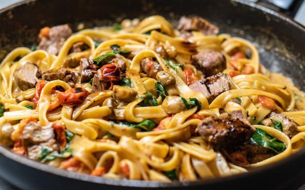 Fettuccine pasta dish
