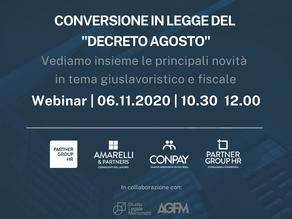 """Webinar: legge di conversione del """"Decreto Agosto"""" e """"Decreto Ristori"""""""