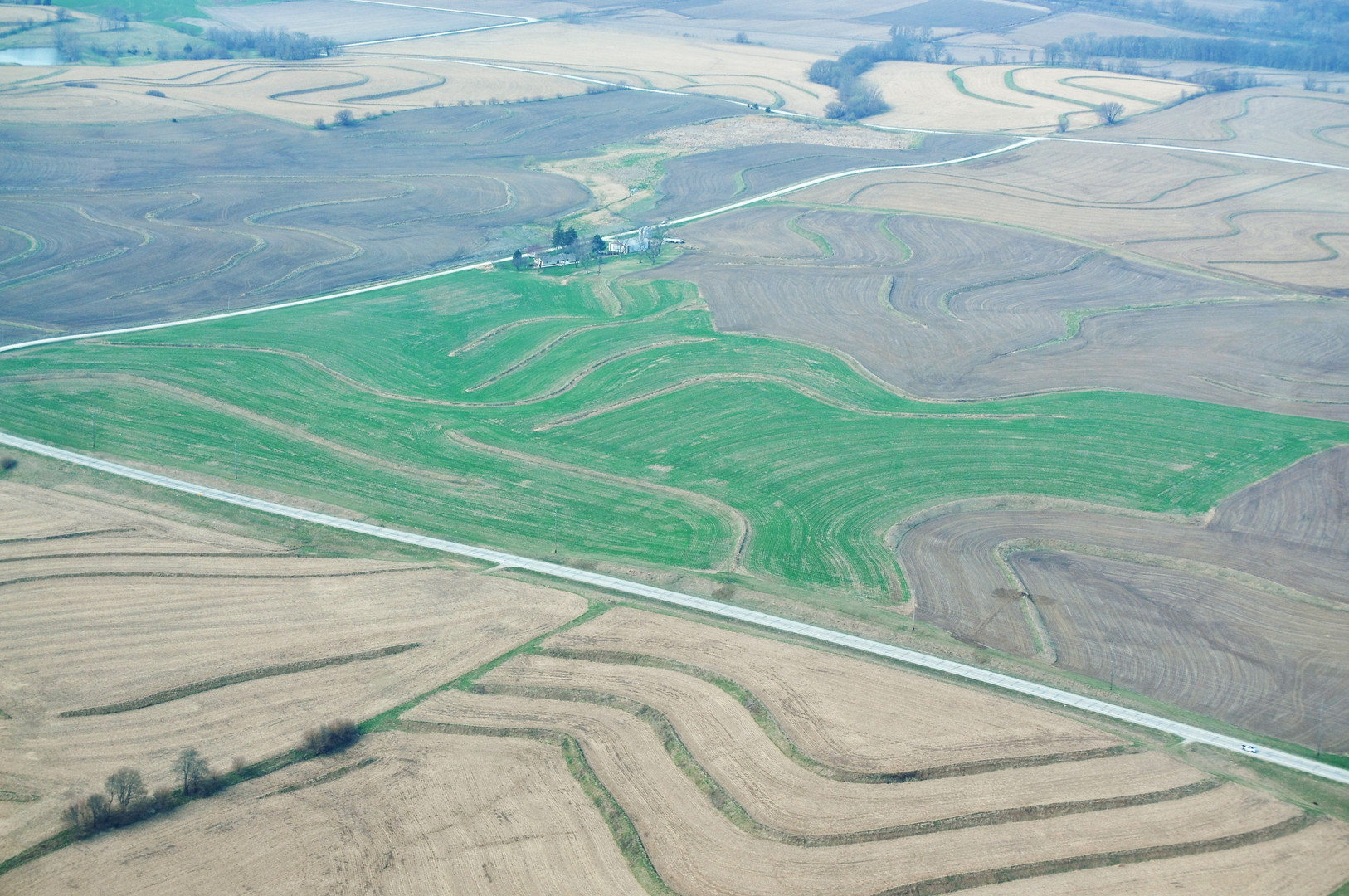 Aerial photo of land terracing submitted by Dan Case, Environmental Specialist