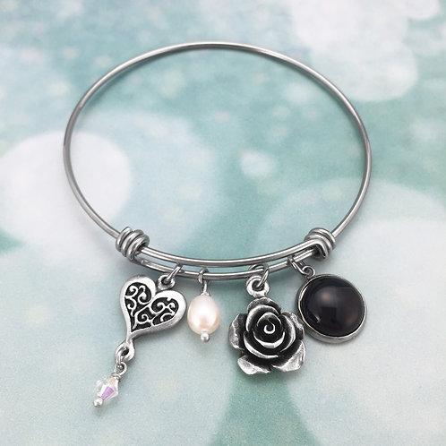 Adjustable Bangle – Heart & Rose with Swarovski Crystal, Fresh Water Pearl & Bla