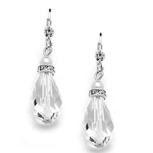 #2 Crystal teardrop with white pearl