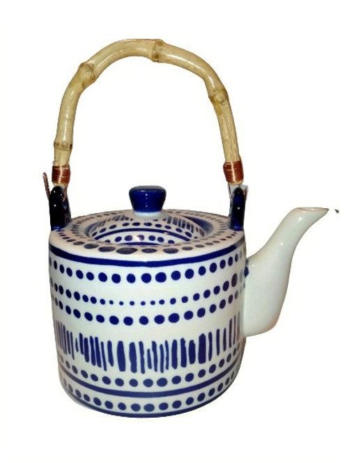 Calais Blue & White Cane Handle Teapot