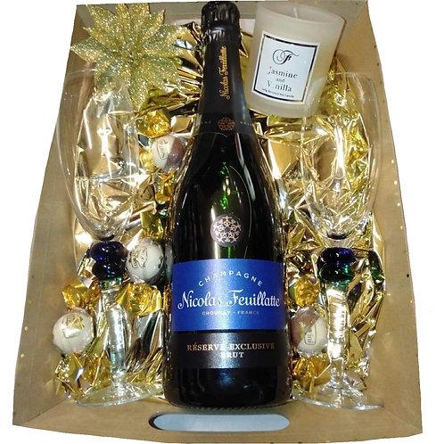 #28 Nicolas Feuillatte with Champagne glasses.