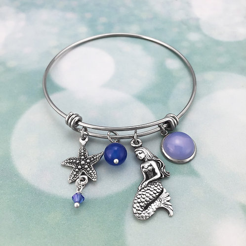 Adjustable Bangle – Mermaid & Starfish with Swarovski Crystal & Blue Agate