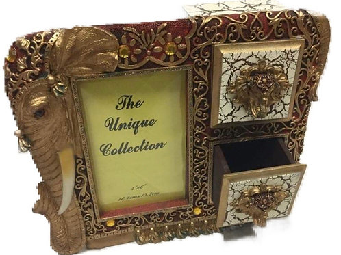 Golden elephant photo frame with 2 drawers