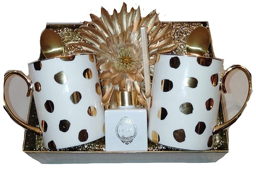 #14 Christina Re Coffee Mug set 24crt Gold trim w Mor mini Diffuser