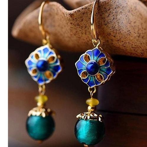 #8 Peacock Drop Earrings