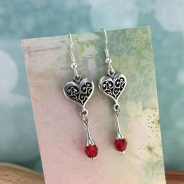 Heart A Earrings, Red Crystal