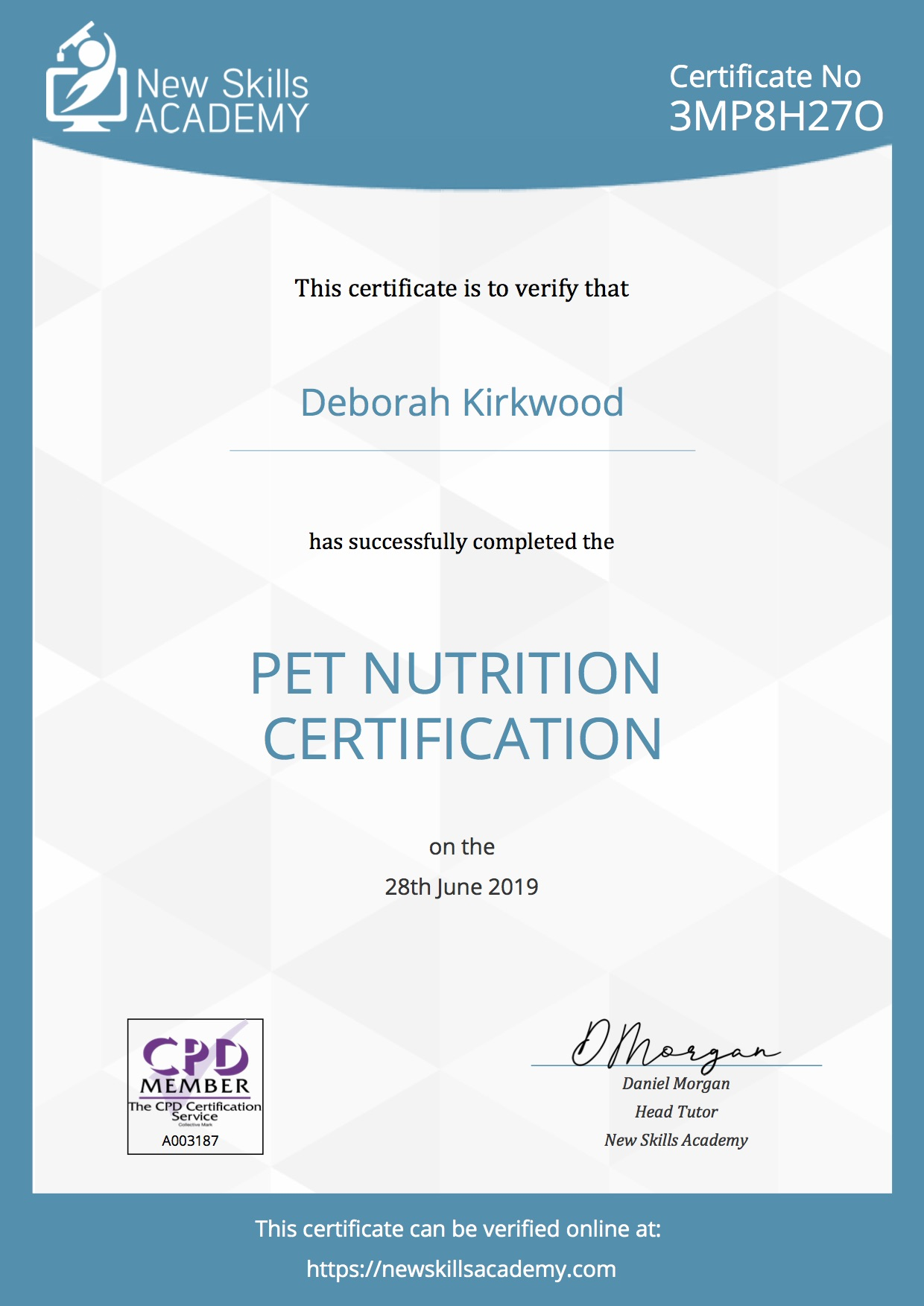 Pet Nutrition Certificate
