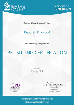 Pet Sitting Certificate