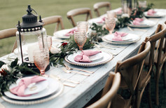 Farmhouse tables with charming place settings