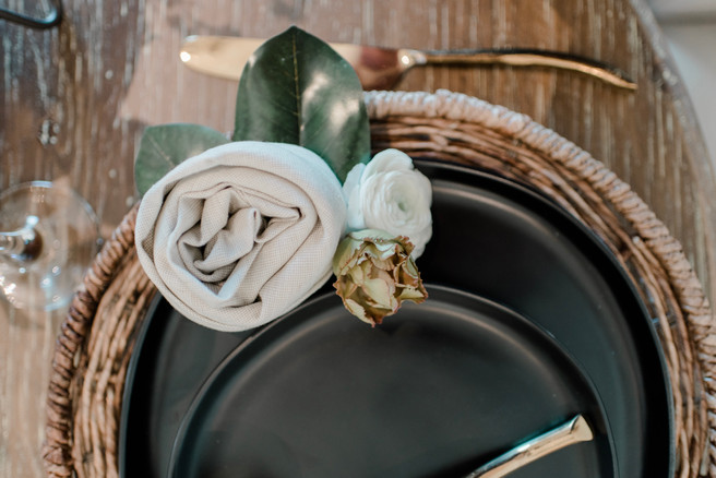 Floral napkin for a place setting