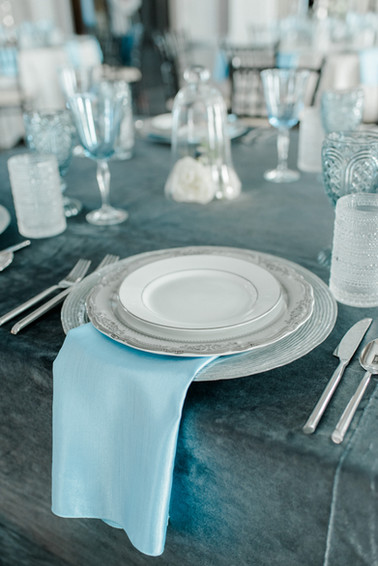 Classic tablesettings with icy hues