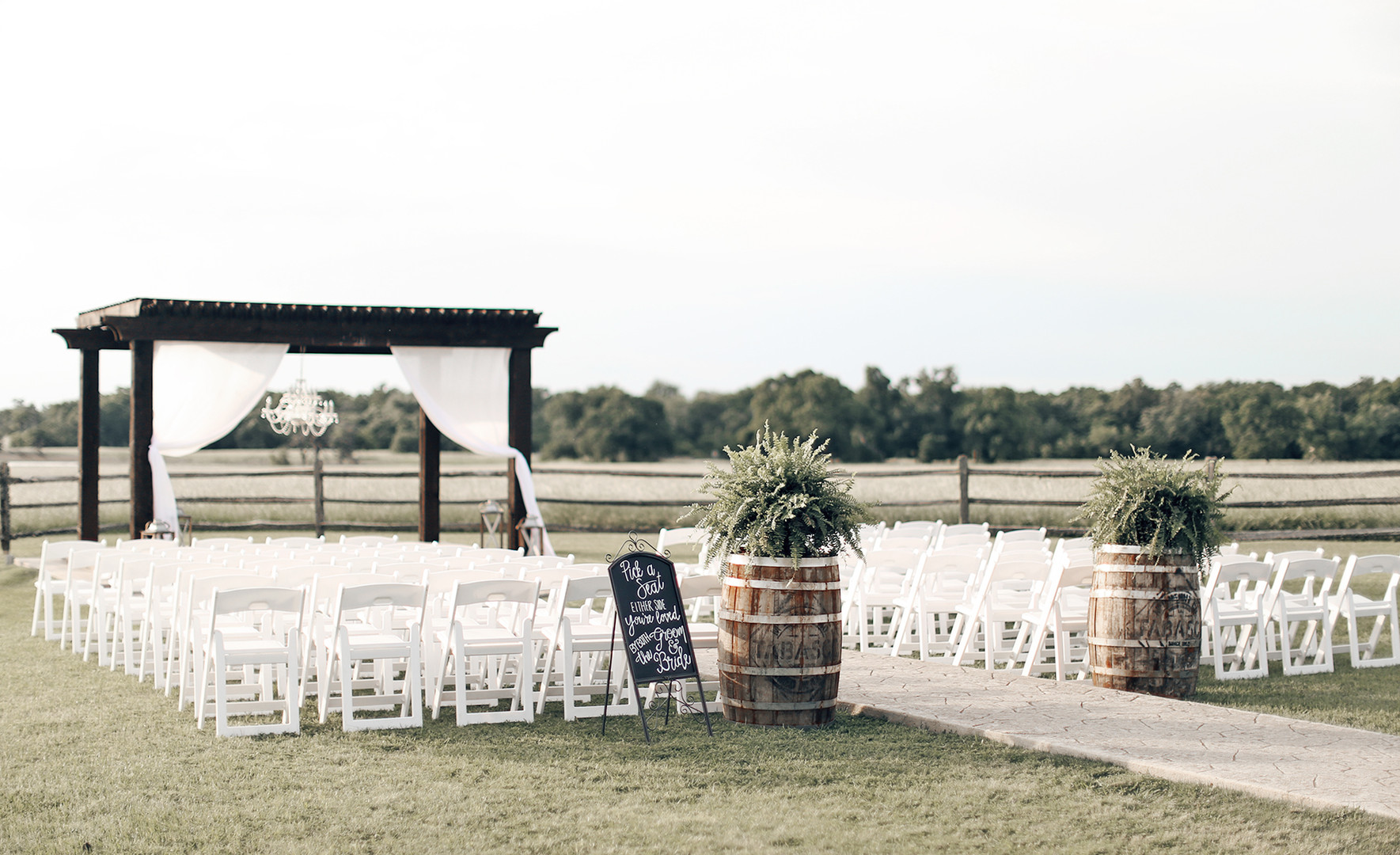 Ceremony space amongst acres