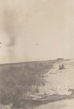 0215 Beach people on sand look up plane