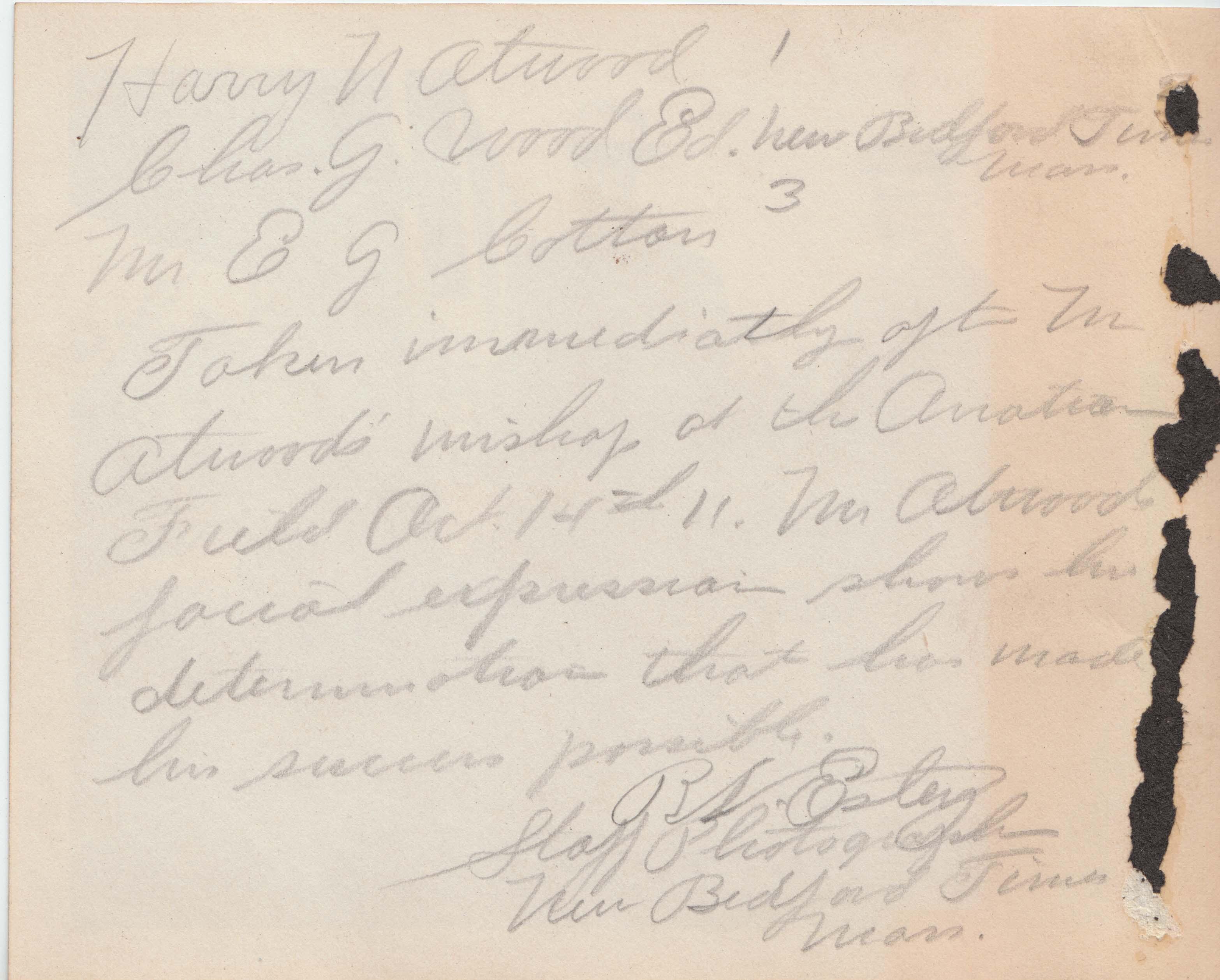 0402B Three Men near Airplane Atwood Estey Letter