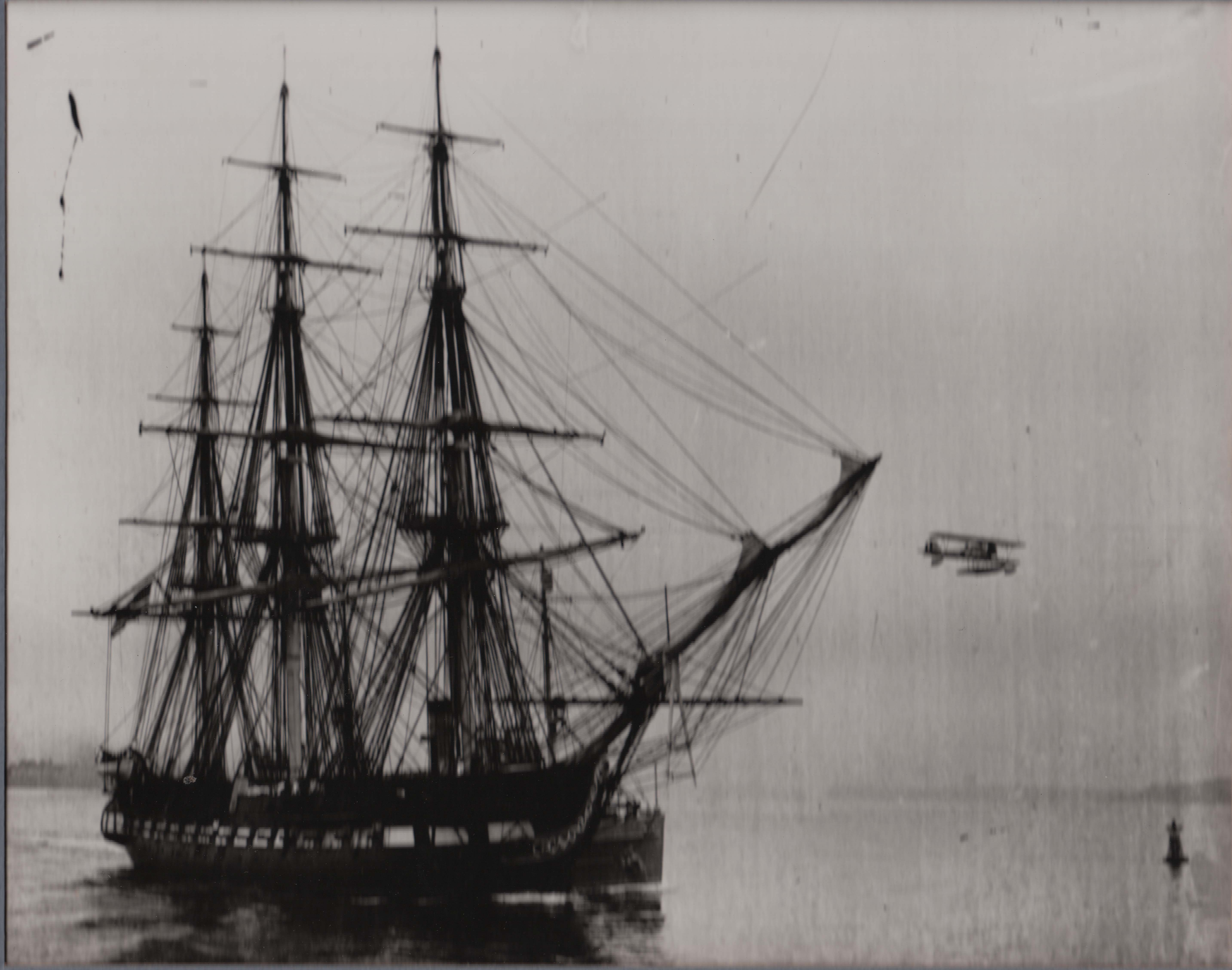 0693 Old Ship with Airplane in Flight