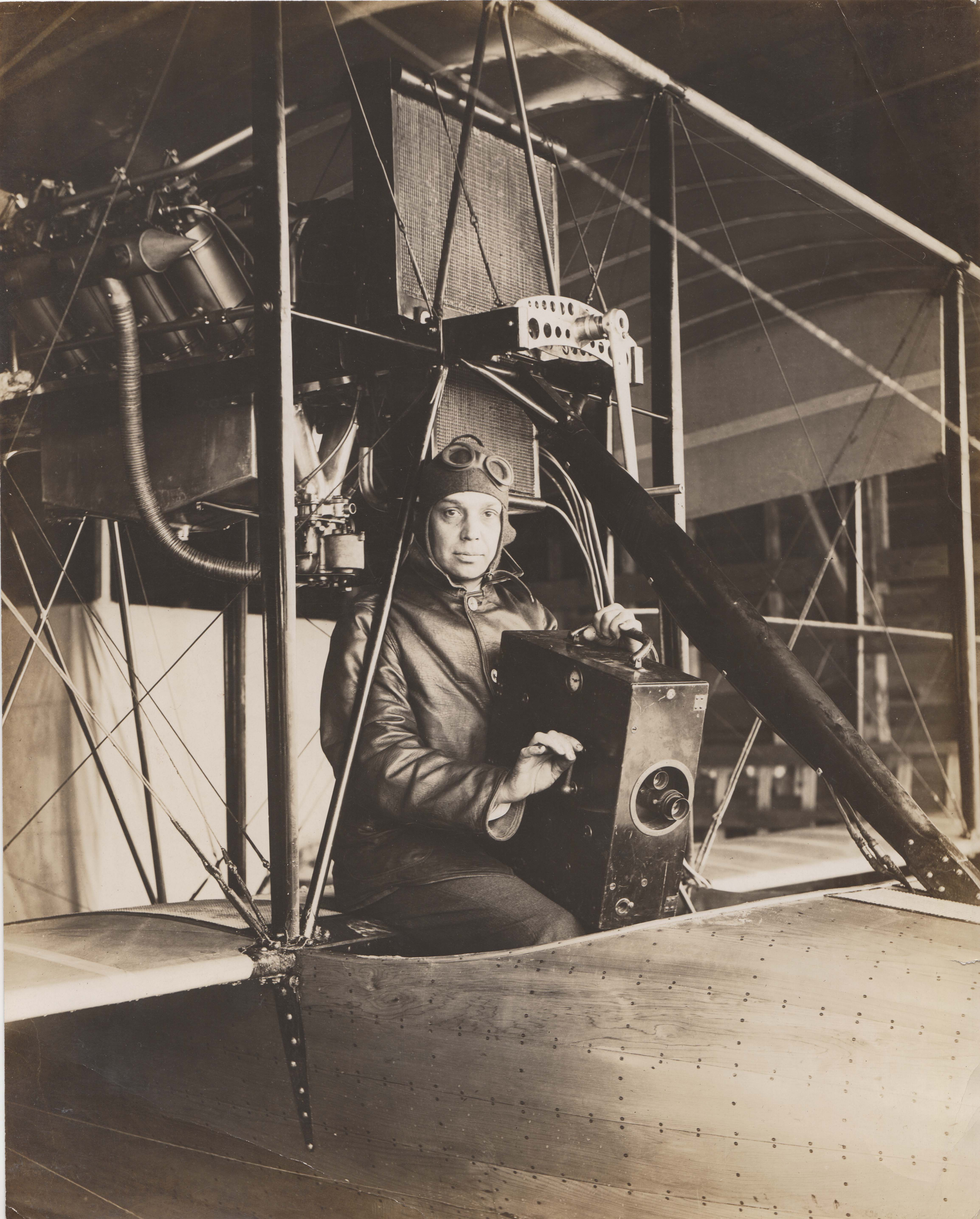 0227 A pilot with black box in cockpit
