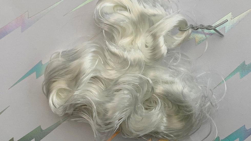 HQG1C Nylon Hair - White Cap (Curly) - For Custom Ponies