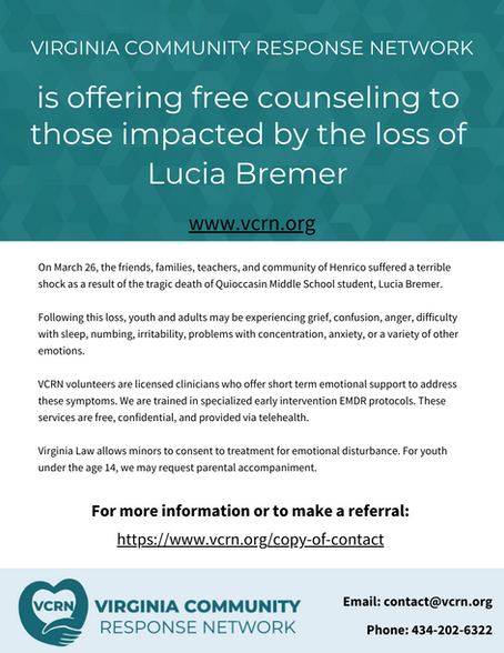 Support for those impacted by the loss of Lucia Bremer