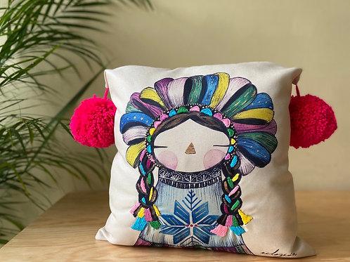 """cojín """"muñeca mexicana"""" (bordado a mano)"""