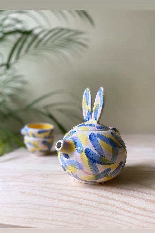 Juego tetera conejo (amarillos y azules)
