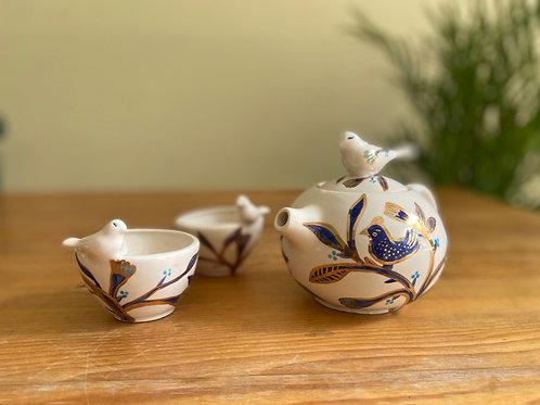 Juego tetera pajaritos (azul cobalto con oro)