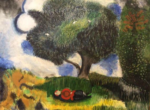 ציור בצבע אקריל על פי שגאל