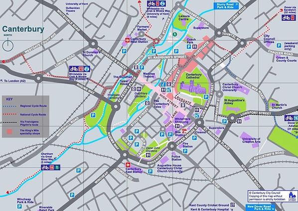 Map of Canterbury city centre