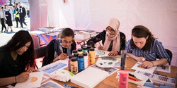 Four Syrian ladies learning