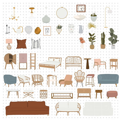 Escalas de Muebles estilo Boho