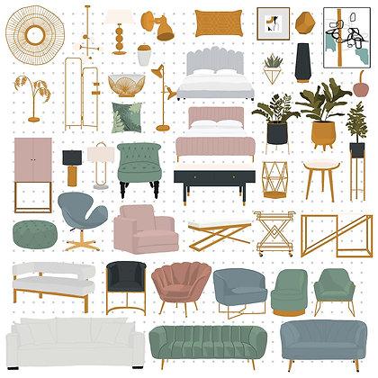 Muebles estilos Art deco en vectores