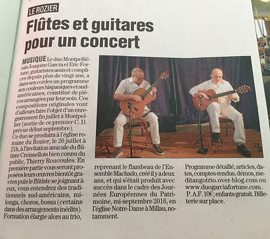 Article le journal de Millau 19 07 2018.