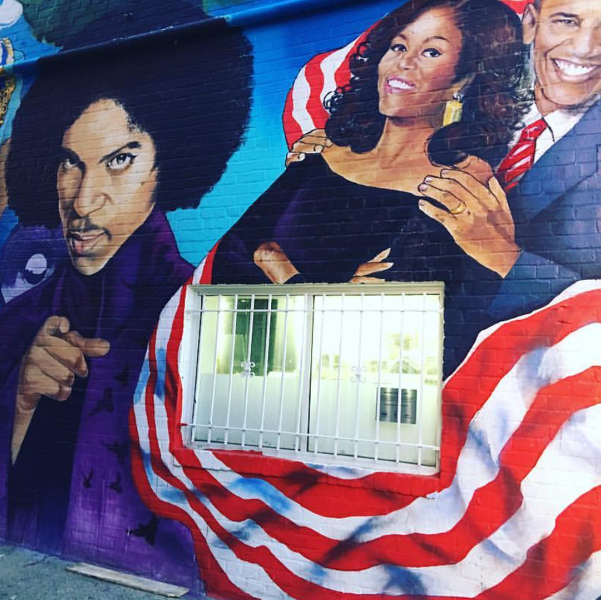 "This is a beautiful mural outside of ""Ben's Chili Bowl""."