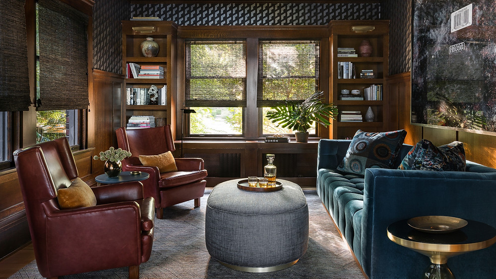 cozy library with wood paneling