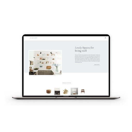 Pretty website template for interior designers | The Kennedy Website Template