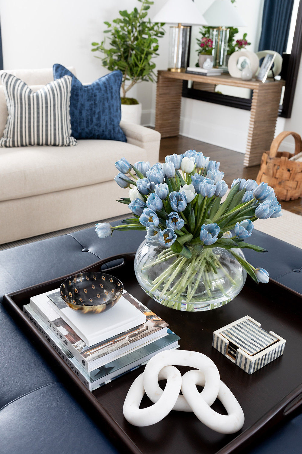 coffee table styled with tulips