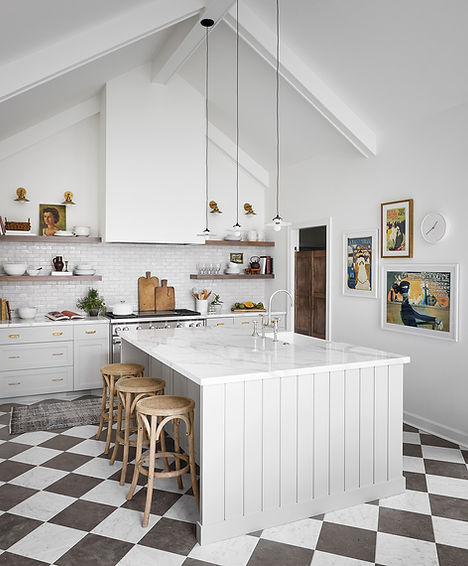 Our largest kitchen remodel yet, this kitchen, pantry, mudroom and laundry renovation was inspired by a trip to the South of France. Our clients came to us through an Instagram post and were thrilled to work together to renovate their older home for a more functional, and beautiful, space for their family. The original floor plan was choppy and unified, which we used to our advantage to create functional work rooms while opening up the kitchen and dining areas. Our clients had a long list of needs, like a cathedral ceiling and access to the side entry, which we were able to navigate through careful space planning. To keep things feeling cohesive, sourced complimentary materials through each space, differentiating them through custom details. Our clients are thrilled with the new floor plan and we will forever adore the bespoke quality of this home.
